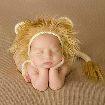 Lion Newborn Photography Hat and Tail Set Crochet Infant Baby Cap Newborn Animal Props #P0293