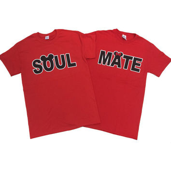 SOUL MATE Couple T-Shirt Disney Inspired Love Matching Tees