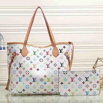 Louis Vuitton Women Fashion Leather Satchel Tote Shoulder Bag Handbag  Set Two Piece