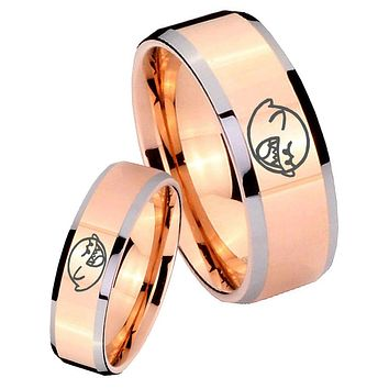 His Hers Rose Gold Beveled Mario Boo Ghost 2 Tone Tungsten Wedding Rings Set