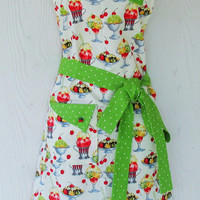 Ice Cream Apron , Ice Cream , Sundaes , Cherries , Retro Full Apron , Green Polka Dot , KitschNStyle