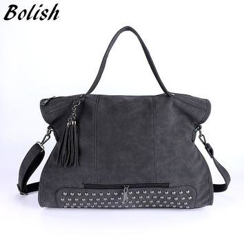 Bolish Rivet Nubuck Leather women bag