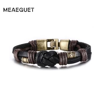 Meaeguet Punk Street Style Braided Rope Chain Knot Charm Bracelet & Bangle Men Black/Brown Layered Leather Bracelet Male Jewelry