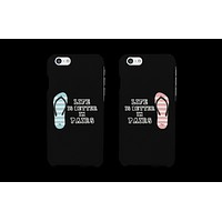 Flip Flop Life is Better in Pairs Matching Couple Black Phonecases (Set)