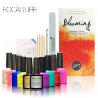 FOCALLURE Pro Soak-off Nail Gel Polish Starter Kit 8 Colors Soak Off Gel Top Base Coat Cleanser Removers Nail Art