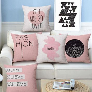 Quotes - Dream Believe Achieve - Hello - Decorative Throw Couch Sofa Cute Pillows Cover Cases