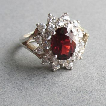 1980's Vintage Sterling Silver Simulated Ruby & Diamond Cluster Rhinestone Cocktail Ring, Size 6