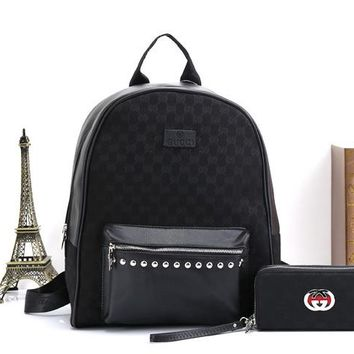 GUCCI Fashion Leather School Bag Bookbag Backpack Double Shoulder Bag Two Piece Set Black I