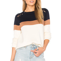 525 america Stripe Shoulder Barbell Sweater in Ivory Combo