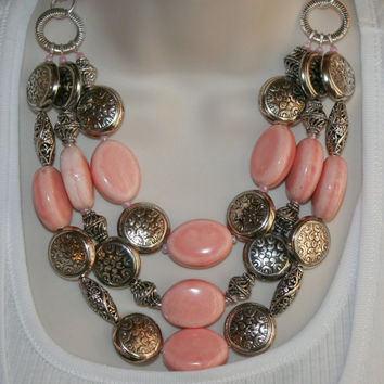 Chunky Large Peach Ceramic Bead Statement Necklace, Tibetan Antique Silver Beads, Silver and Peach Bib Multistrand Statement Necklace