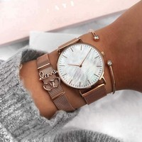 SANSHOOR Stainless Steel Mesh Keeper Bracelet Watch Set With Shell Watch and Love double Heart Silde Charms As Gift For Women