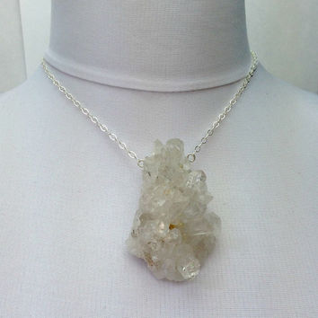 MEMORIAL DAY SALE Sale - Rock Crystal Cluster Necklace, Statement Jewelry, Sterling Silver Chain Necklace, Crystal Cluster Formation