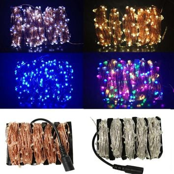 10M/20M/30M/50M Led Silver/Copper Wire 100/200/300/500 LED String Fairy Starry Lights with Power Adapter (UK,US,EU,AU Plug)