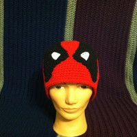 Black and Red Deadpool Beanie Hood (Hero, hat, cap, crochet)