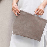Gray asymmetrical Leather clutch, evening bag, big size clutch