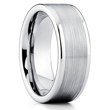 Tungsten Wedding Band - Silver - Men's Wedding Band - Brush Tungsten