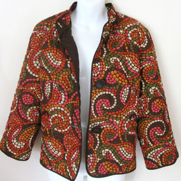 Ruby Rd Quilted Jacket Size 10 Brown Multi Color Retro Mosaic Print Lightweight
