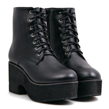Black Lace Up Short Boots