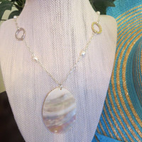 Mother of Pearl & Potato Fresh Water Pearl Necklace Pendant Women Girls Jewelry Chic Bohemian Silver