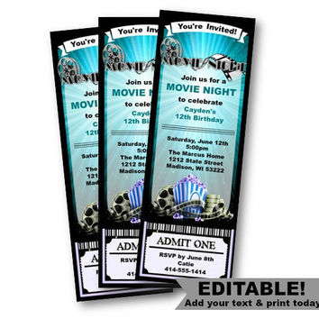 Movie Ticket Invitation Birthday Movie Night blue invite ticket stub party movie party popcorn ticket admit one printable editable template