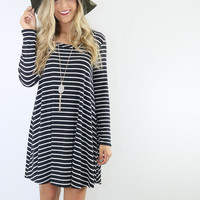 In Your Daydreams Black & White Striped Trapeze Dress