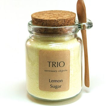 Lemon Sugar- 8 oz Glass Sugar Jar with Mini Wooden Spoon for Tea Parties, Coffee, Tea, Berries, Cider, Lemonade, Baking