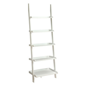 White Ladder Style Bookcase with 5 Shelves