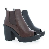 Central By Soda, Peep Toe Elastic Insert Lug Sole Chunky Heel Ankle Booties