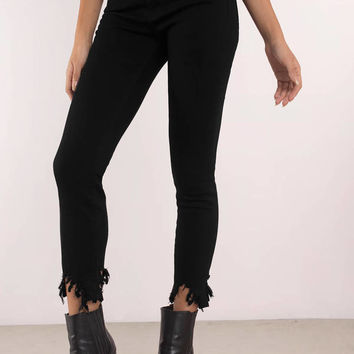 Just Black Denim Jet Set Frayed Hem Denim Pants