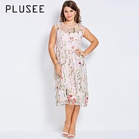 Plusee Plus Size Bohemian Women Boho 2017 Pink Sexy Floral Embroidery Summer Party Gown Large Size Dress 4XL Plus Size Dresses
