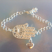 Boho Silver Hamsa and Heart Bracelet - Hand of Fatima