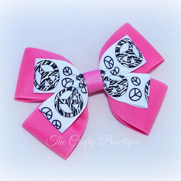 Peace Sign Bow ~ Large Peace Sign Bow ~ Hot Pink Hair Bow ~ Large Layered Bow ~ Hot Pink & Black Bow ~ Peace Sign Headband Bow ~ Zebra Print