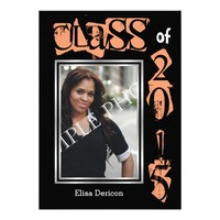 Class of 2015 coral text graduation photo invitation