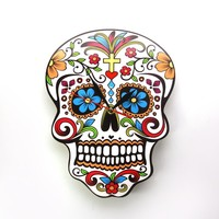 1Piece Mexican Day of the Dead Candy Sugar Skull Wall Clock Floral Skull Modern Design