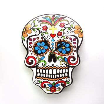 1Piece Mexican Day of the Dead Candy Sugar Skull Wall Clock Floral Skull Modern Design Wall Clock Halloween Wall Art Decor