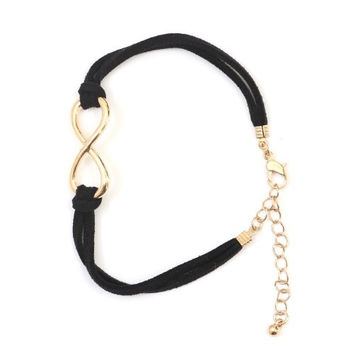 Infinity Loop Symbol Karma Bracelet BA01 Antique Gold Tone Black Faux Leather Band Karma Fashion Jewelry