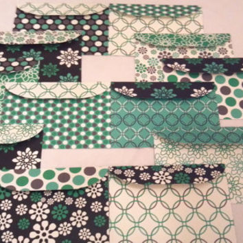 Handmade 5x7 Envelopes Set of 12 Green Grey Envelopes- Scrapbook Paper Designs