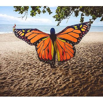 Women Monarch Butterfly Wings Dancing Halter Cape Girls Belly Dance Openging Split Wing Festival Wear Adult Kids 2 Sizes
