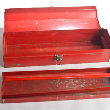 Vintage red metal tool box with handle, tray / Industrial storage rustic