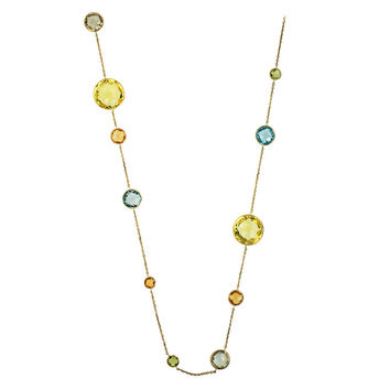 14 Karat Yellow Gold Colored Stone Necklace