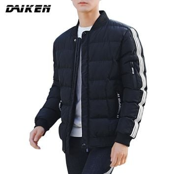 DAIKEN Fashion Lightweight Warm Parka Streetwear Casual Solid Stand Collar Winter Jacket for Men H21