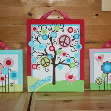 Set of 3 Peace, Love, Go Green Girls Bright Polka Dot Stretched Canvases Baby Nursery CANVAS Bedroom Wall Art 3CS036