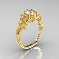 Fantasy Vintage 14K Yellow Gold 1.0 CT Round White Sapphire Diamond Sea Star Engagement Ring R173-14KYGDWS