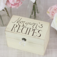 Personalized Recipe Box Rustic Chic Home Decor By Morgann Hill Designs (Item Number 130057)