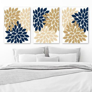 Flower Wall Art, Navy Tan Beige Bedroom Wall Decor, Floral CANVAS or Prints, Tan Navy Bathroom Decor, Flower Petals Artwork, Set of 3 Decor