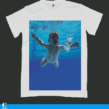 NIRVANA kurt cobain screen print men t shirt ety55M