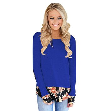 Dark Floral Patchwork Royal Blue Long Sleeve Shirt