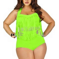 The Cane Women's Plus Size High Waist Two Piece Fat Tassel Swimsuits Bikini Set Color Green Size 2XL