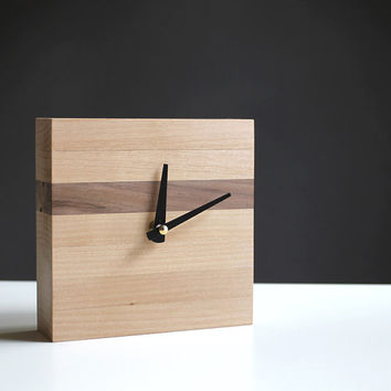 Handcrafted 5.5 in. square desk clock