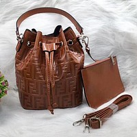FENDI Trending Women Leather Handbag Crossbody Satchel Shoulder Bag Clutch Bag Set Two Piece Brown
